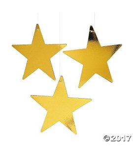 Fun Express Gold Star 12 Cutout - 1 Dozen Gold Foil Cardboard Star Cutouts