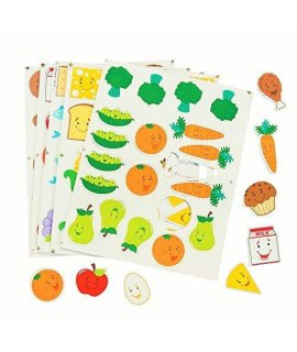 100 ~ Food Group Foam Stickers ~ 1 1/2 - 2 1/2 ~ New