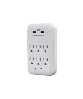 Monoprice 6 Outlet Power Surge Protector Wall Tap With 2 Built In 3.4A USB Ports - White | ETL Rated 1,200 Joules With Grounded And Protected Light Indicator