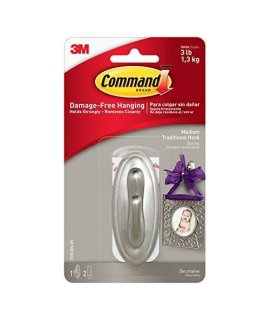Command Traditional Plastic Hook, Medium, Brushed Nickel, 1-Hook (17051BN-ES)