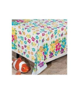 Fun Express Hibiscus Print Plastic Tablecloth