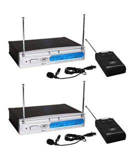 (2) Peavey PV-1 V1 BL 203.400 MHZ VHF Wireless Lavalier Microphone Systems