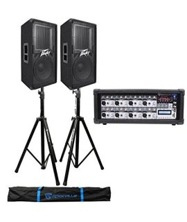 (2) Peavey PV112 12 1600w Speaker System Cabinets+Powered Mixer+Stands