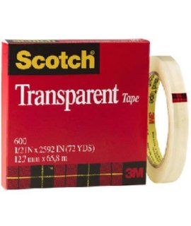 "3M Scotch Transparent Tape, 12"" x 2592"", 1Roll - Model 600"