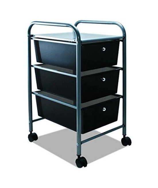 ADVANTUS 3-Drawer Rolling File Organizer Cart, 27 x 15.5 x 13 Inches, Black (34006)