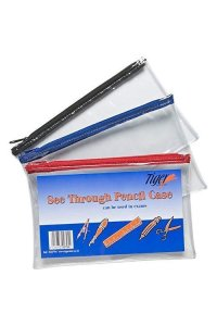 1 X Clear Pencil Case - By Tiger - Size 200mm X 125mm