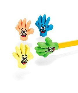 Rubber High Five Eraser Toppers (2 dz)