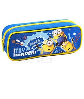 "Despicable Me Minions ""I Try Harder "" Pencil Case (1 Pencil Case) (Blue)"