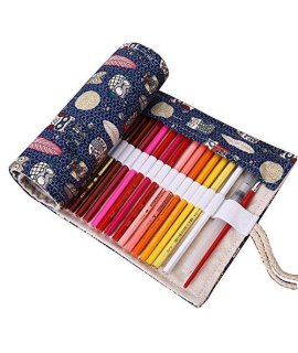 Covelin Pen Holder Forest Dreaming Canvas Roll Up Pencil Pouch Bag with 48 Slots
