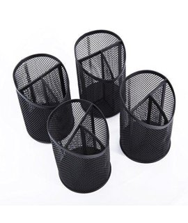 DESIGNA Mesh Pencil Holder Organizer for Office Supplies  Desk Accessories, Black, 4 Packs