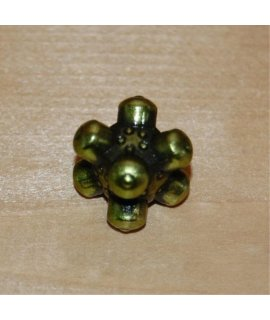 1 (One) Single IronDie: Solid Metal Italian Dice - Green Barrier (Die-Cast Designer Six-Sided Die / d6)