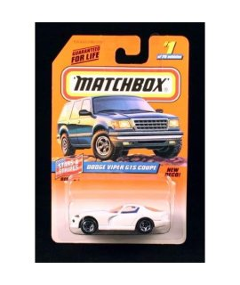 DODGE VIPER GTS COUPE WHITE Stars & Stripes Series 1 MATCHBOX 1998 Basic Die-Cast Vehicle (#1 of 75)