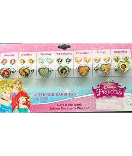 Disney Princess Stick On Earrings And Adjustable Rings
