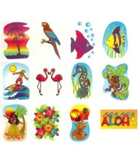 Tropical Glitter Tattoos - Novelty Jewelry & Tattoos & Body Art