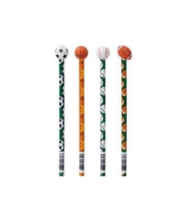Wooden Sports Pencils With Ball Eraser (12 Pack)