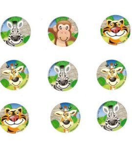 100 Zoo Animal Roll Stickers, 1 Roll