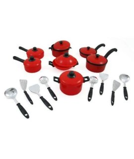 15 Piece Miniature Pots and Pans Kitchen Cookware Playset for Dolls with Cooking Utensils Set