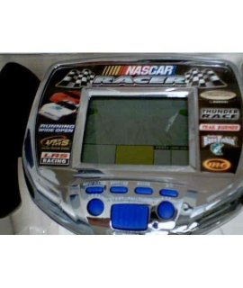1998 Radica USA Ltd. Radica Monte Carlo NASCAR RACER LCD Virtual Hand-Held Racing Game Model#9847GB wRight Or Left Handed Steering Control Game Vibrates on Bumps and Rubs and Trigger Key Accelerator (ChromeSilver Body with Black and Blue Button Version)