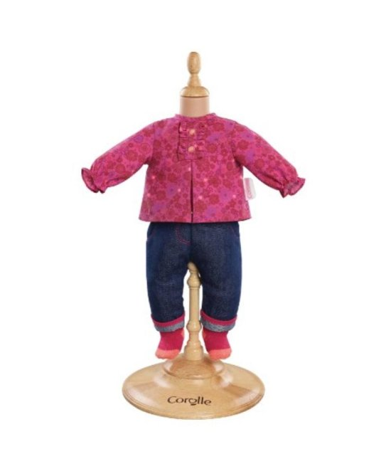 Corolle Mon Classique Grenadine Blouse and Denim Pants for 17  Doll Fashions