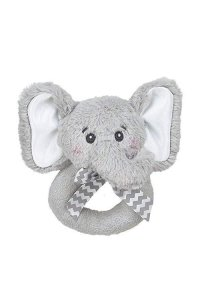 Bearington Baby Lil Spout Elephant Plush Ring Rattle 5.5