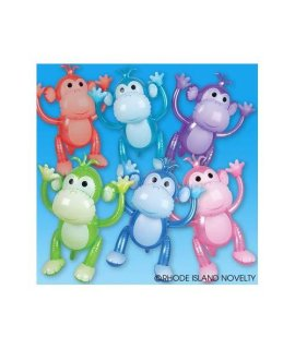 1 Dozen Colorful Inflatable Monkeys (24) / Party Favor/ Circus / Birthday /Decor / Prize Giveaway