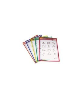 - Reusable Dry Erase Pockets, 9 x 12, Assorted Primary Colors, 5/Pack by MOT4