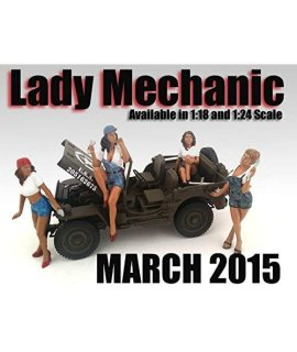 """Lady Mechanics"" 4 Piece Figure Set For 1:18 Scale Models by American Diorama 23859-23860-23861-23862"