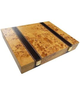 Trino Burl Wood Chess Piece Storage Case - Large