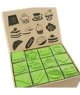 12 Kids Bakery Cake Cupcake Sweets Rubber Stamps Set (CR010)