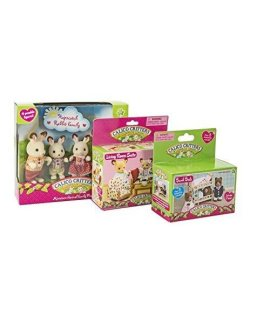 Calico Critters Hopscotch Rabbit Family Bundled with Bunk Beds and Living Room Suite