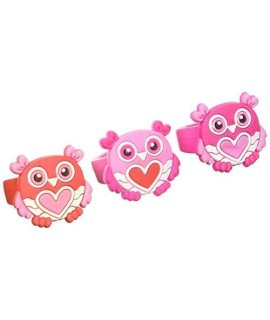 "1"" RUBBER VALENTINES OWL RINGS- 24 Pack"