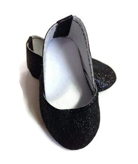Doll Clothes Fits American Girl and other 18 inch Dolls Black Sparkle Princess Shoes
