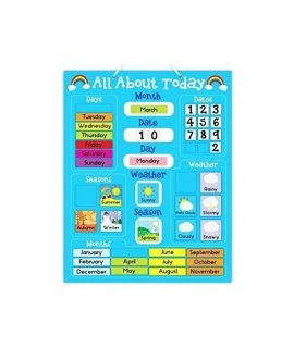 """All About Today"" Weather & Calendar Magnetic Board - Blue"