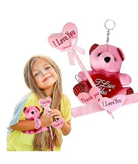 """I love you"" Valentine Heart Set - Adorable Plush PERFECT Valentine's Day Bulk Gift - Include a Heart key-chain, Lovely Pen, Hug Teddy Bear and Slap Bracelet."