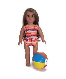 18 Doll Clothes Fits American Girl Doll Colorful Orange Zigzag 1 piece Swimsuit & Beach Ball