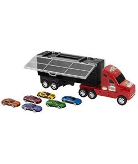 "14"" Red Car Carrier Transport Truck and 6 Stylish Metal Racing Cars with Carry On Handle and Car Storage Compartments by Big Mo's Toys"