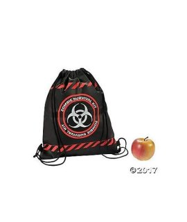 Zombie Survival Drawstring Backpacks - 12 pc