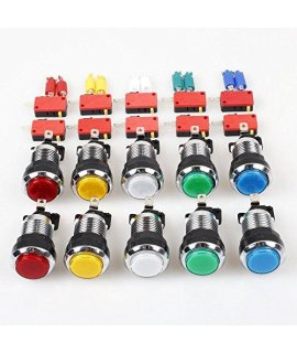 10 Pcslots American Style Chrome Plating 28mm Hole Illuminated Push Buttons With Micro Switch For Arcade Machine Games Mame Jamma Parts 12V Each Color of 2 Pieces by Atomic Market