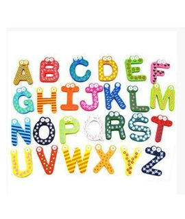 26Pcs Funky Fun Colorful Wooden Magnetic Letters Az Wooden Fridge Magnets Kid Toys Education