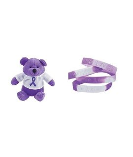 1 Purple Awareness Plush Bear + 1 Free Purple Awareness Ribbon Camouflage Bracelet, Support Pancreatic Cancer, Alzheimers, Lupus, Animal Abuse, Crohns Disease