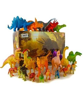 24 Jurassic Dinosaur Toys For 3, 4, 5, 6, 7 Year Old Boys Girls Toddlers Kids  Party Favors & Supplies Plastic Action Figures For Bath Toys, Pool Toys & Pretend Play  Stem Learning Dino Set