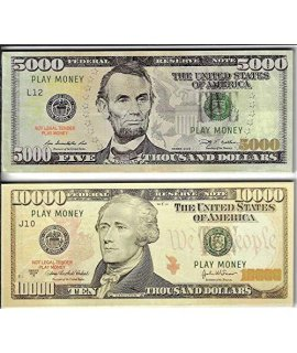 20X $10,000 & $5,000 Bills Prop Money/Fake/Play. Not Legal Tender Size 2.3X5.5 In. One Side Only