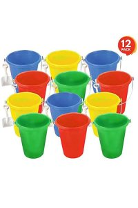 Artcreativity Mini Plastic Beach Pail And Shovel Set (Pack Of 12)  6 Assorted Colors Buckets And White Shovels  Summer Beach Toys  Practical Gift, Party Favor And Prize