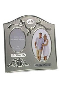 Two Tone Silverplated Wedding Anniversary Gift Photo Frame - 25th Silver